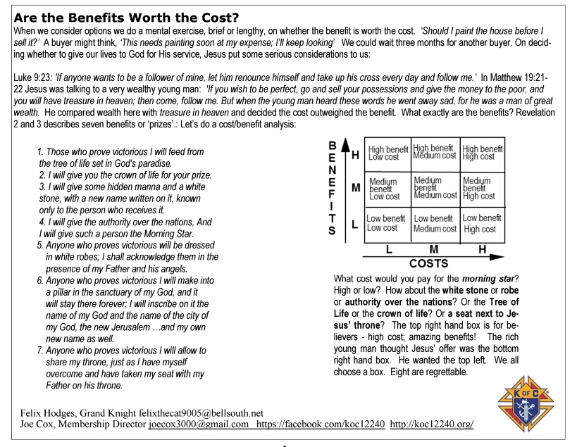 cost/benefit analysis | | koc12240.org